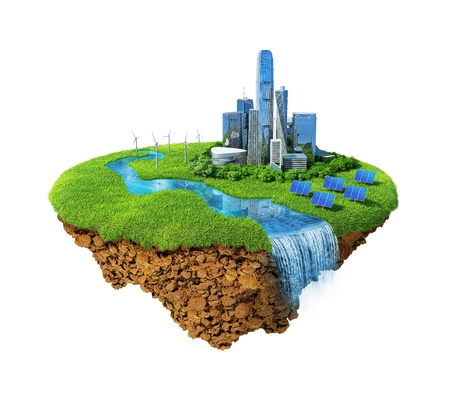 Eco city concept. Cityscape on a lawn with river, waterfall. Fancy island in the air isolated. Detailed ground in the base. Concept of success and happiness, idyllic modern harmony lifestyle. photo