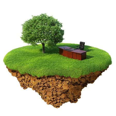 Lawn with tree, office table and chair on the little fine island  planet. A piece of land in the air. Detailed ground in the base. Concept of success in business, innovation, refresh.