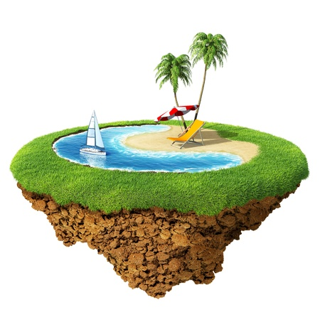 Personal resort on little planet. Concept for travel, holiday, hotel, spa, resort design. Tiny island  planet collection. photo