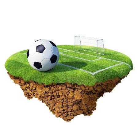 Balón de fútbol en el campo, área de penalti y objetivo basado en el pequeño planeta. Concepto para el Campeonato de fútbol, Liga, diseño de equipo. Pequeña isla / colección del planeta. Foto de archivo