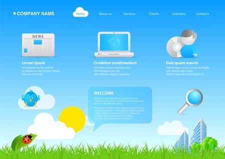 2011 modern website eco friendly business  cartoon stylish template Vector