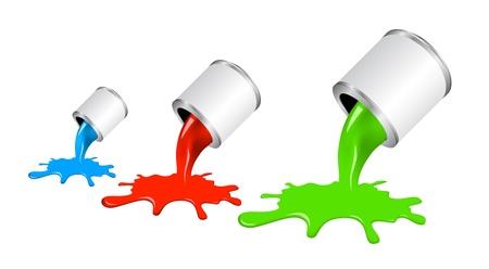 gieten verf uit pot. Concept van stijlvolle kleurrijk ontwerp. Stock Illustratie