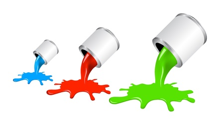 pouring paint from jar. Concept of stylish colorful design. Vectores