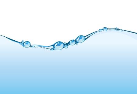 wasserlinie: Wasser-Linie. Detaillierte Wasser Tropfen kochen Wirkung Wasser Wellenlinie. Konzept der Reinheit, frische, Spa, gesunden Lebensstil.  Illustration