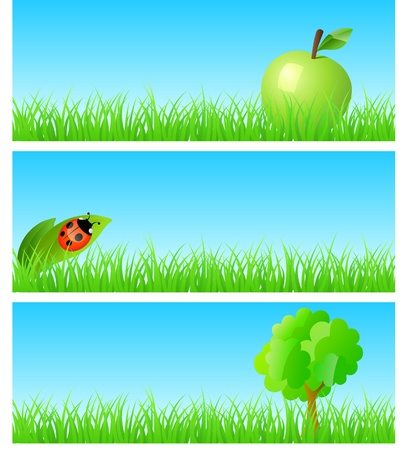 triptych of objects on detailed grass. Apple, ladybird on a leaf, tree. Concept of new ecological nature friendly lifestyle. One of a series.  Ilustração