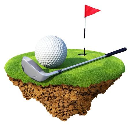 ゴルフ クラブ、ボール、フラッグスティック小さな惑星に基づいた穴。ゴルフ クラブやデザイン コンペのコンセプトです。小さな島惑星コレクシ