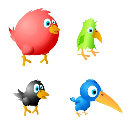 crow: 4 funny birds vector. Red fat, green parrot, black crow and blue overage different comic birds.