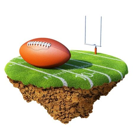 pelota rugby: Campo de f�tbol americano, objetivo y bola basado en peque�o planeta. Concepto de f�tbol  dise�o de rugby o competencia. Peque�a isla  colecci�n del planeta. Foto de archivo