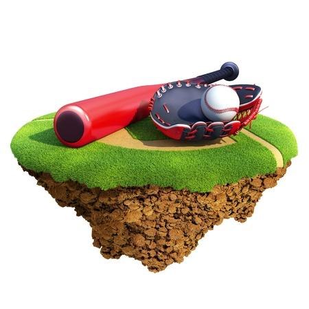 guante de beisbol: Bate de béisbol, guante (mitt del receptor) y bola basado en pequeño planeta. Concepto de diseño de equipo o de la competencia de béisbol. Pequeña isla  colección del planeta. Foto de archivo