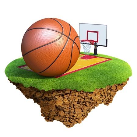 baloncesto: Pelota de baloncesto, tablero, aro y Tribunal basado en peque�o planeta. Concepto de dise�o de equipo o de la competencia de baloncesto. Peque�a isla  colecci�n del planeta.