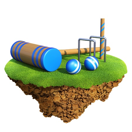 cricket field: Cricket bat, wicket stumps, bails and balls based on little planet. Concept for cricket team or competition design. Tiny island  planet collection.