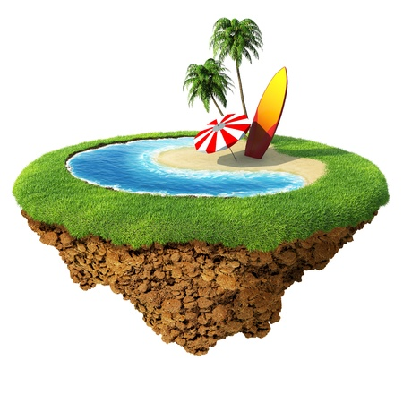 isles: Surf on little planet. Concept for travel, holiday, hotel, spa, resort design. Tiny island  planet collection.