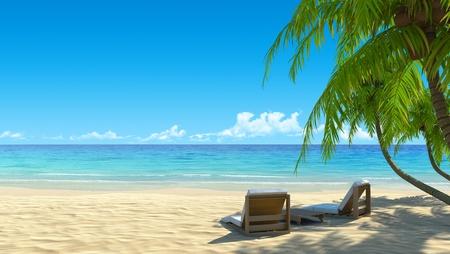 strandstoel: Twee stijlvolle strand stoelen op idyllische tropische wit zand strand. Schaduw van de palmbomen. Geen lawaai, schoon, zeer gedetailleerd 3d render. Concept voor vakantie, spa, resort design.