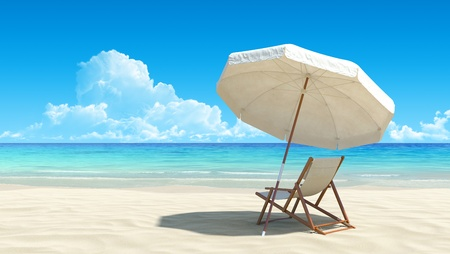 beach scene: Beach chair and umbrella on idyllic tropical sand beach. No noise, clean, extremely detailed 3d render. Concept for rest, relaxation, holidays, spa, resort design.