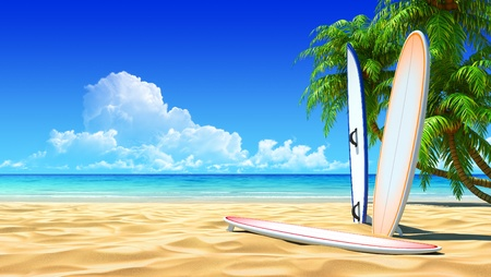 beach scene: Three surf boards on idyllic tropical sand beach. No noise, clean, extremely detailed 3d render. Concept for surfing, rest, holidays, resort design.