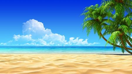 Palmen op lege idyllische tropische zand strand. Geen lawaai, schoon, zeer gedetailleerd 3d render. Concept voor de rest, vakantie, resort, spa ontwerp of achtergrond.