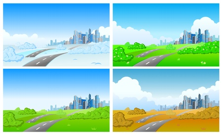 winter road: Cityscape in four seasons