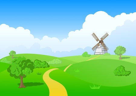 Countryside landscape: MILL Ilustrace