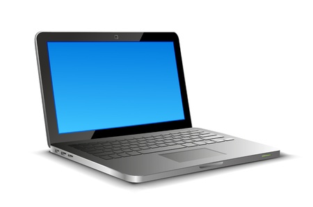 pc: Laptop on white background with copyspase