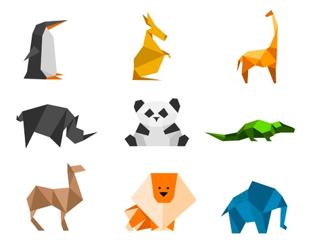 Origami Logo Set 1: penguin, kangaroo, giraffe, rhinoceros, panda, crocodile, camel, lion, elephant
