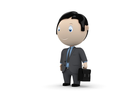 constantly: Manager. Social 3D characters: businessman carry briefcase. New constantly growing collection of expressive unique multiuse people images.