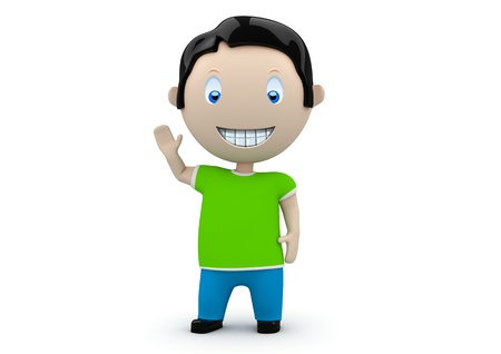 constantly: Hey! Social 3D characters: happy smiling boy waves his hand. New constantly growing collection of expressive unique multiuse people images.