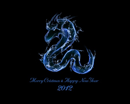 2012 is Year of Black Water Dragon: liquid concept of New Year 2012 illustration for greeting card, calendar cover Stock Photo