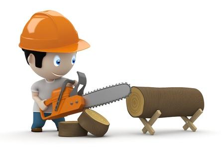 leñador: leñador con sierra para cortar el tronco. Foto de archivo