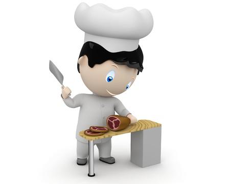 eat cartoon: happy smiling cook in uniform cutting ham.  Stock Photo