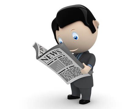 businessman in suit reading newspaper.