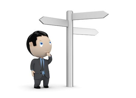 waypoint: businessman looking at crossroads blank plates sign.  Stock Photo