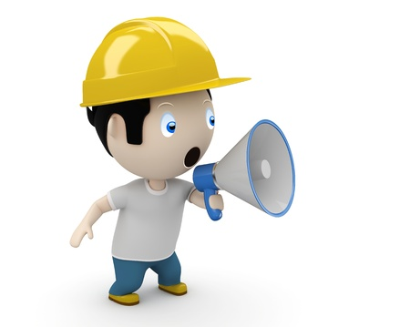 man shouting into megaphone making loud noise.