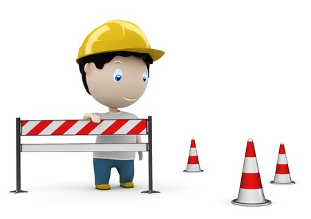 man on the road by the barrier and under construction cones. photo