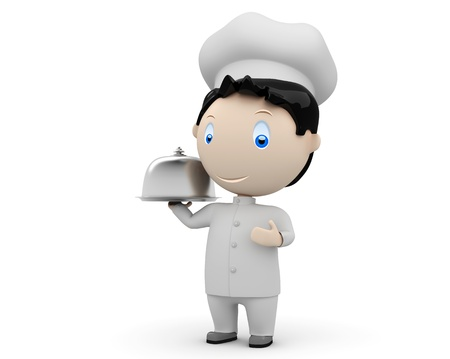 happy smiling cook in uniform with tray and metal cloche lid cover.