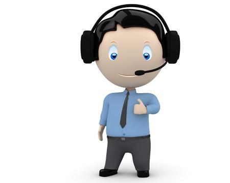 vrolijke jonge man met headset, stropdas en shirt met grote vinger. Stockfoto