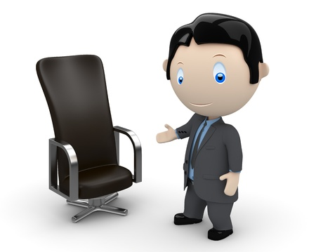 businessman pointing at leather office chair.  photo