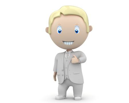 blonde blue eyes: happy smiling businessman showing big finger.