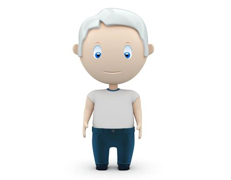 comix: grey haired man wearing jeans and t-shirt stands still.