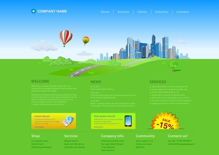 woman smartphone: Skyscrapers cityscape business life website template Illustration
