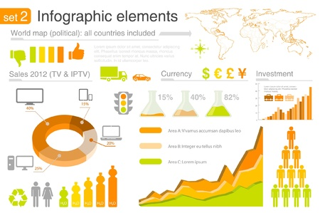 Infographics elements with icons. For business and finance reports, statistics, diagram graph Ilustração