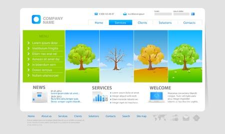 wheather: Four seasons. Website design template. Editable.