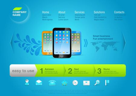 Smartphones with icons on the desktop.