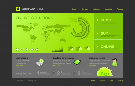 Website template. Infographics & World map Vector