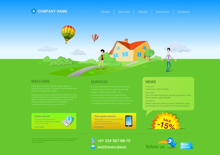 website buttons: Website template. Realty, Healthlife, Outdoor, Nature concept. Illustration