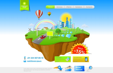 website buttons: Website promo template. Flying Island concept for Ecology, Innovation, Energy, Fun themes and etc.