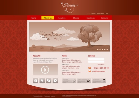 beuty: Website template for hotel, restaurant, beuty & spa salon etc. Vintage pattern background design. Editable. Illustration