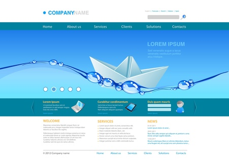 Website template: water paper boat. Business concept.