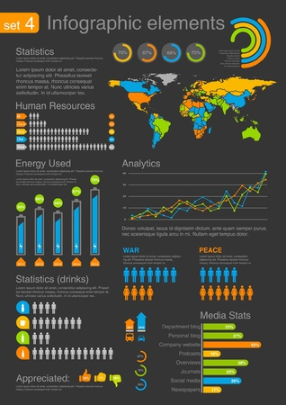 statistics: Infographics elements with icons  For business and finance reports, statistics, diagram graph Illustration