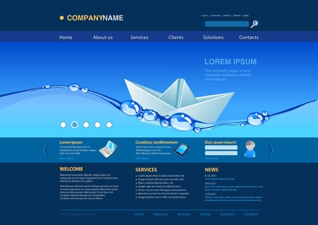 Website template  water origami boat  Business concept