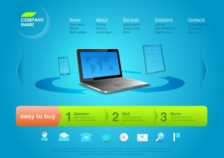 web solution: Website template  Notebook Online shop concept